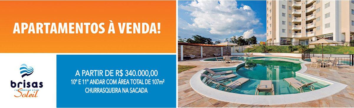Apartamentos à venda - brisas residence club Soleil - A partir de R$ 340.000,00 10º e 11º andar com área total de 107m², churrasqueira na sacada.